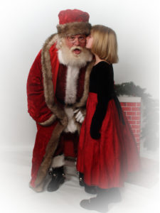 Naturally bearded Santa Howard with little girl - Have Santas Will Travel